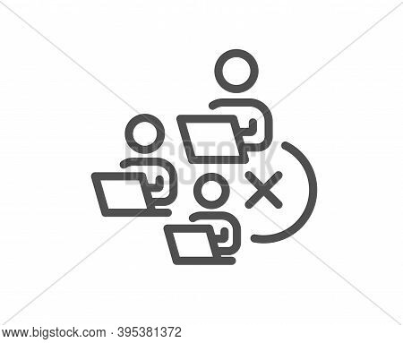 Remove Team Line Icon. Teamwork Sign. Remote Team Employees Symbol. Quality Design Element. Linear S