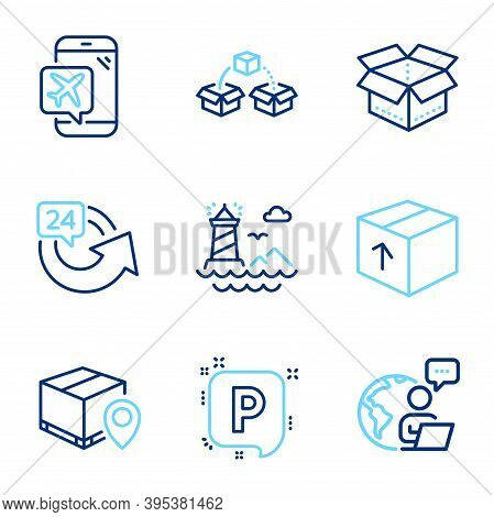 Transportation Icons Set. Included Icon As Open Box, Lighthouse, Parking Signs. Parcel Tracking, Fli