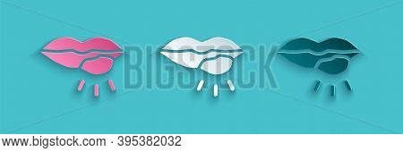 Paper Cut Herpes Lip Icon Isolated On Blue Background. Herpes Simplex Virus. Labial Infection Inflam