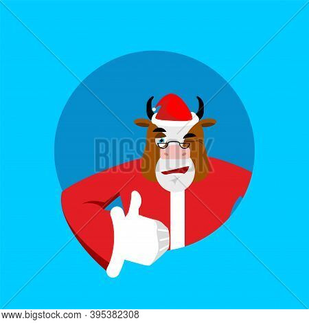 Santa Bull Thumbs Up Well And Winks. Sign All Right. Merry Christmas Cow. Hand Showing Ok. Gesture O