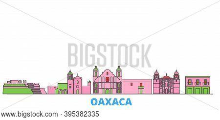 Mexico, Oaxaca Line Cityscape, Flat Vector. Travel City Landmark, Oultine Illustration, Line World I