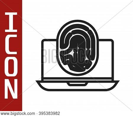 Black Line Laptop With Fingerprint Icon Isolated On White Background. Id App Icon. Identification Si