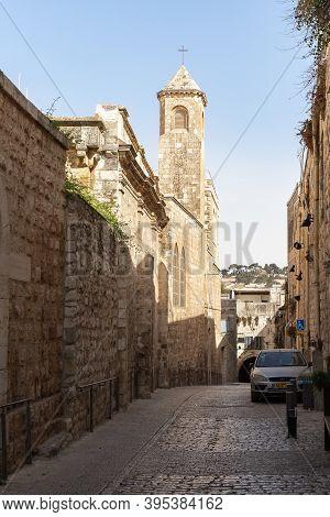 Jerusalem, Israel, October 24, 2020 : The Monastery Of The Flagellation On The Via Dolorosa Street I