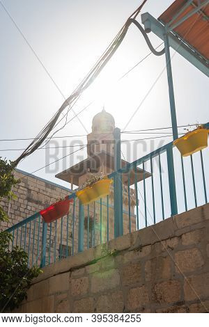 View Of The El-ghawanima Tower From The Courtyard Of The Arab School On Via Dolorosa In The Old City