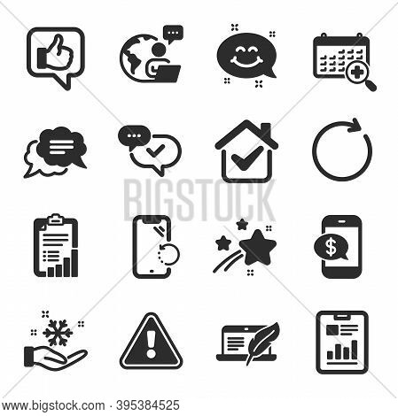 Set Of Technology Icons, Such As Like, Approved, Freezing Symbols. Copyright Laptop, Synchronize, Te
