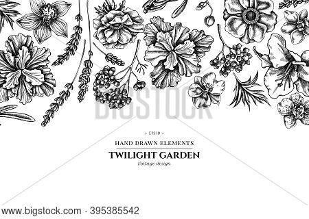 Floral Design With Black And White Anemone, Lavender, Rosemary Everlasting, Phalaenopsis, Lily, Iris