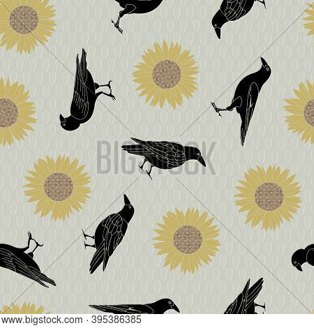 Vector Yellow Sunflowers And Crows Scattered On Taupe Background Seamless Repeat Pattern. Background