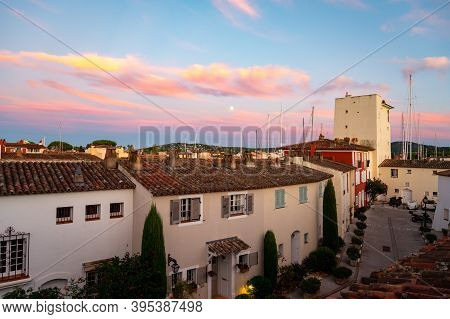 View On Houses, Roofs, Canals And Boats In Port Grimaud, Var, Provence, France In Summer