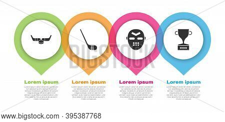 Set Ice Hockey Sticks And Puck, Ice Hockey Stick, Hockey Mask And Award Cup. Business Infographic Te