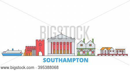 United Kingdom, Southampton Line Cityscape, Flat Vector. Travel City Landmark, Oultine Illustration,