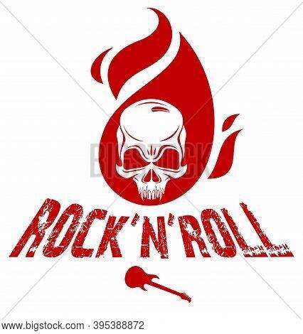 Skull On Fire Rock And Roll Vector Logo Or Emblem, Aggressive Skull Dead Head In Flames Hard Rock La