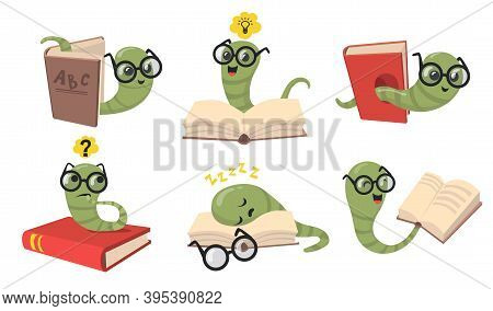 Funny Bookworms Flat Item Set. Cartoon Library Worms In Eyeglasses Reading Book, Sleeping And Smilin