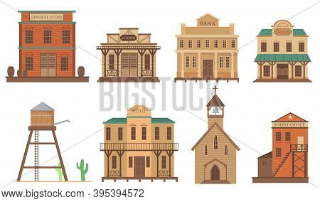 Variety Of Old Houses For Western Town Flat Item Set. Cartoon Traditional Wild West Wooden Buildings