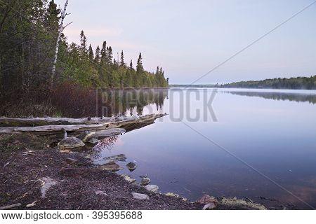 A Northern Minnesota Lake On A Calm Peaceful Morning