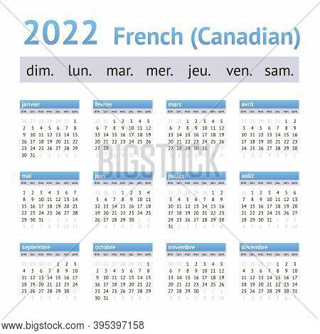 2022 French American Calendar. Weeks Start On Sunday
