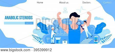 Doping Test, Sports Nutrition, Anabolic Steroids Concept Vector. Sports Medicine Vector Concept For