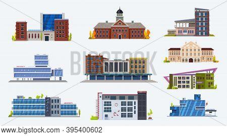 City Buildings Icons, School And University Set