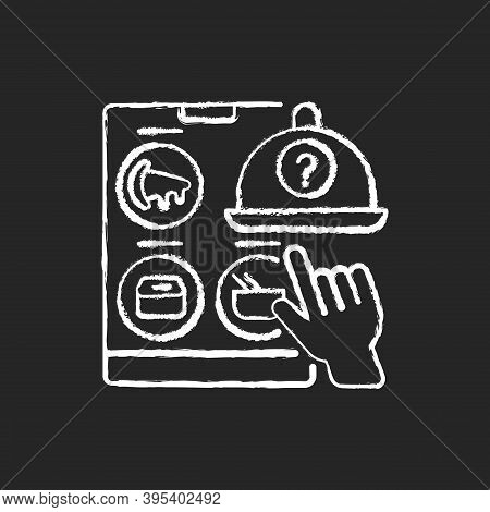 Choosing Restaurant Chalk White Icon On Black Background. Online Food Delivery. Ready-made Meals. Ta