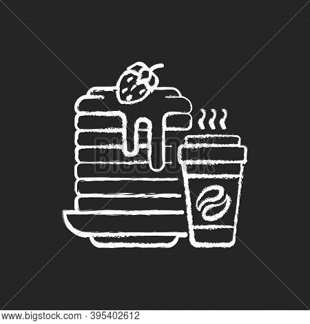 Breakfast Meals Chalk White Icon On Black Background. Prepared Food. Pancakes And Coffee. Well-balan