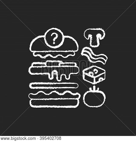 Food Constructor Chalk White Icon On Black Background. Setting Meal Preferences. Putting Ingredients