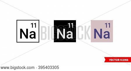 Sodium Icon Of 3 Types Color, Black And White, Outline. Isolated Vector Sign Symbol.