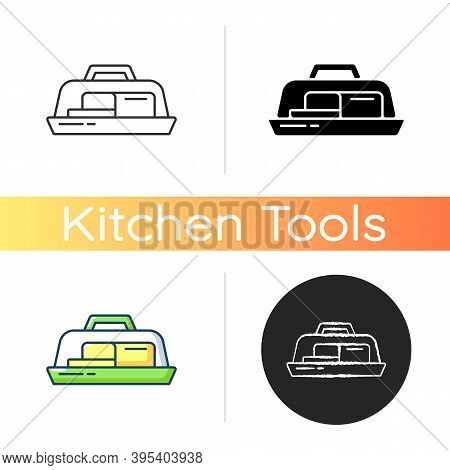 Butter Dish Icon. Plate With Lid For Dairy Product. Milky And Fatty Food. Kitchen Tool For Storage.
