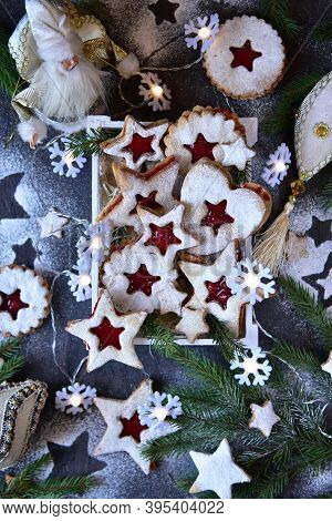 New Year\\\\\\\'s Still Life. Linzer Biscuits And Christmas Paraphernalia.