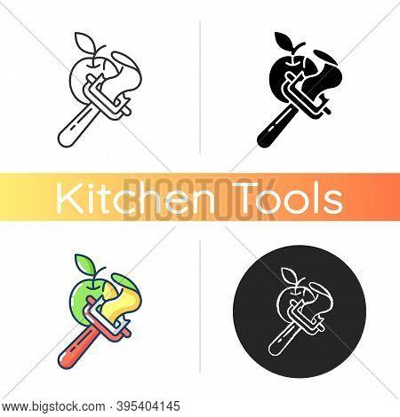 Vegetable Peeler Icon. Stainless Instrument For Serving Food. Cooking Utensil. Peel Apple Skin. Kitc