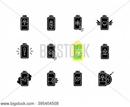 Battery Status Black Glyph Icons Set On White Space. Innovational Charging Process. Using Cables For