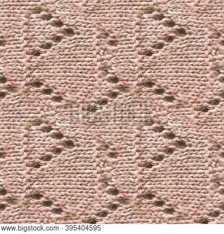 Brown Woolen Thread. Abstract Knitted Pattern. Knitwear Holiday Illustration. Linen Scandinavian Sca