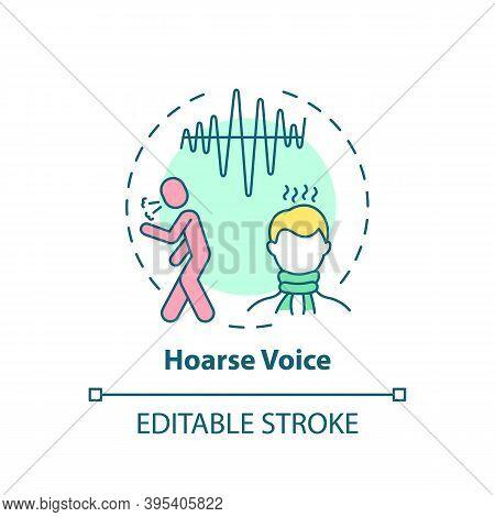 Hoarse Voice Concept Icon. Sore Throat Symptom Idea Thin Line Illustration. Breathy, Raspy Sound. Pr