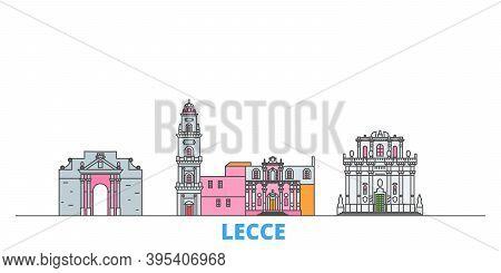 Italy, Lecce Line Cityscape, Flat Vector. Travel City Landmark, Oultine Illustration, Line World Ico