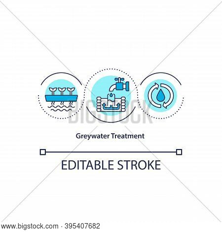 Greywater Treatment Concept Icon. Sustainable Water Consumption. Waste Reuse In Utility Service. Bio