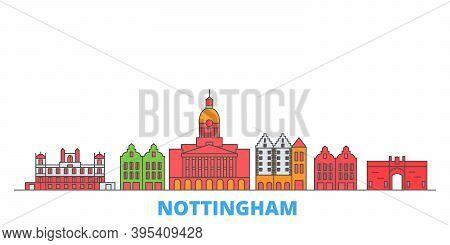 United Kingdom, Nottingham Line Cityscape, Flat Vector. Travel City Landmark, Oultine Illustration,