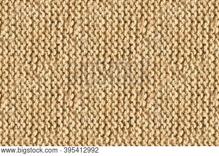 Brown Woolen Thread. Grunge Knitted Texture. Knitwear Warm Wallpaper. Closeup Nordic Scarf. Knitting