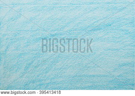 White Watercolor Paper With Blue Crayon Coloring Texture Background For Product Overlay Or Backdrop