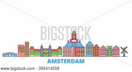 Netherlands, Amsterdam City Line Cityscape, Flat Vector. Travel City Landmark, Oultine Illustration,