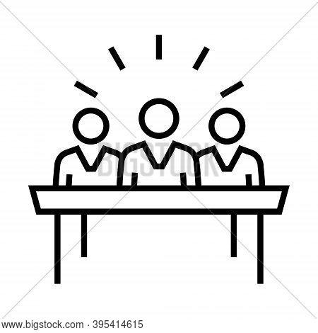 Virtual Team Icon. Remote Working Concept. Line Design.