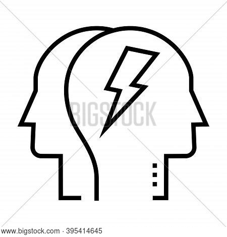 Human Brain With Thunder Sign. Brain Storming Concept.