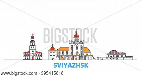 Russia, Sviyazhsk Line Cityscape, Flat Vector. Travel City Landmark, Oultine Illustration, Line Worl