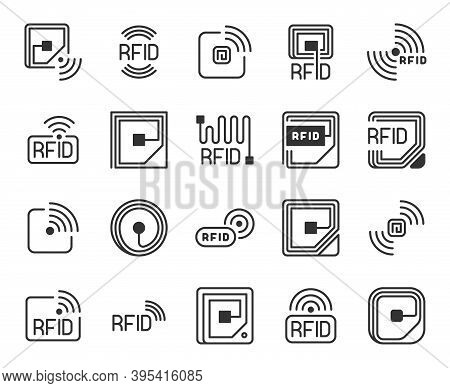 Rfid Icons. Radio-frequency Identification Label, Chip And Antenna Line. Wireless System Tracking An