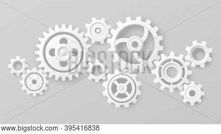 Gear Wheels. Realistic 3d White Cogs And Gears Mechanism. Teamwork Cooperation Machine Symbolism. En