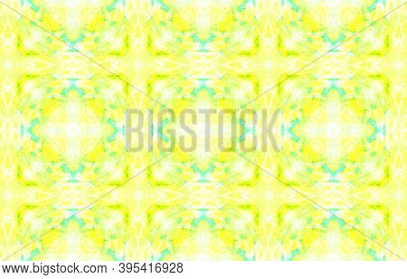 Seamless Aquarelle Pattern. Aquarelle Tie Dye Vintage Abstract Texture. Yellow, Green And White. Eth