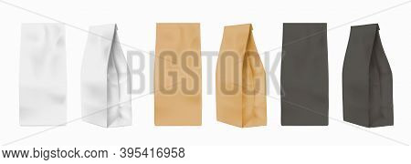 Paper Bag Mockup. Realistic White, Black And Brown Packages For Flour, Cookies Or Tea. Coffee Pouch