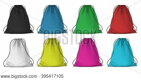 Color Sport Backpack Mockup. Realistic Cloth Packs With Ropes For Clothes. Fabric Red, Blue, Pink An