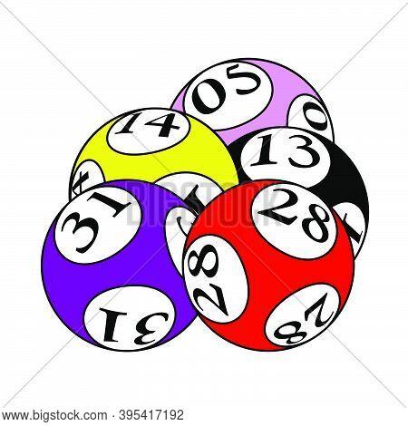 Lotto Balls Icon. Editable Outline With Color Fill Design. Vector Illustration.