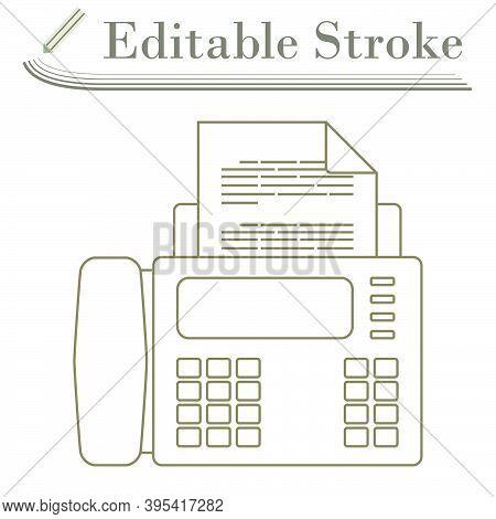 Fax Icon. Editable Stroke Simple Design. Vector Illustration.
