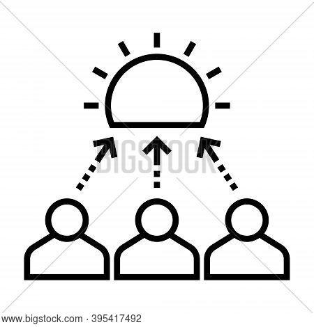 Team Efforts Icon. Working Together. Cooperation Sign. Line Design.