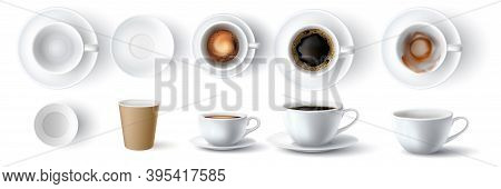 Coffee Cups. Realistic 3d Empty, Dirty, Ceramic And Paper Cup. Americano With Foam And Espresso Top