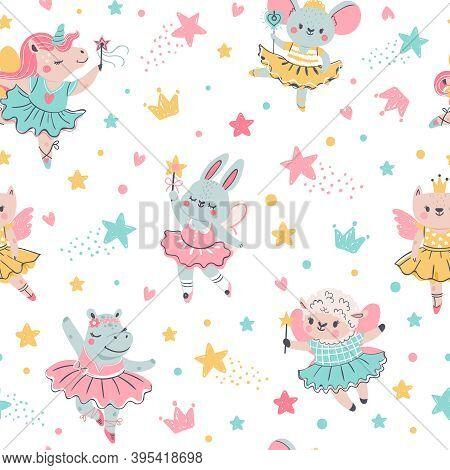 Ballerina Animal Seamless Pattern. Hand Drawn Baby Bunny, Unicorn, Mouse In Ballet Tutu. Girls Birth